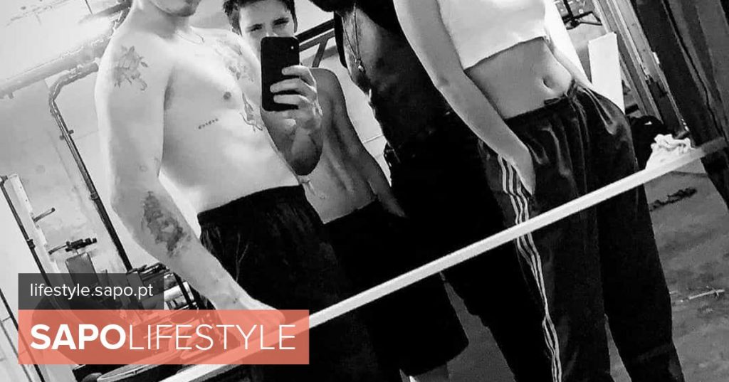 Sons of Victoria and David Beckham give it all ... in the gym
